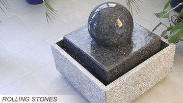 rolling stone sind kugelbrunnen die mit verschiedenen wasserlaufenden steinkugeln edelstein. Black Bedroom Furniture Sets. Home Design Ideas