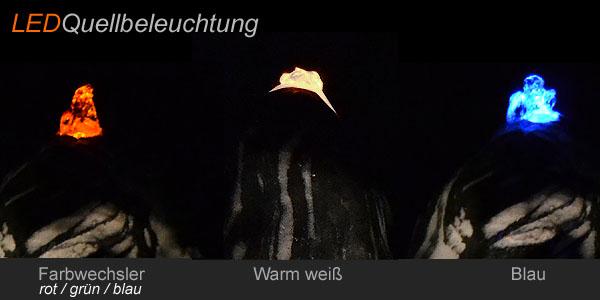 LED Quellbleleuchtung für Quellsteine, Edelstahlsäulen, Naturstein und Findlinge