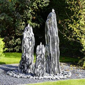 Quellsteinbrunnen 3er set black angel premium 120 naturstein gartenbrunnen revisage - Gartenbrunnen set stein ...